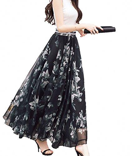 Afibi Women Full/Ankle Length Blending Maxi Chiffon Long Skirt Beach Skirt (Small, Design A)