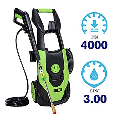 PowRyte Power Washer 4000PSI 3.0GPM,Electric Pressure Washer with 5 Quick-Connect Spray Nozzles (0º, 15°,25º, 45° and soap) for Low to High Pressure to Wash Various Surfaces, Corded Washer