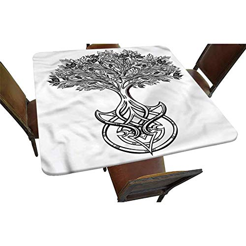 Decorative Elastic Edged Square Fitted Tablecloth,Spiritual Celtic Knot Polyester Indoor Outdoor Fitted Tablecover for Folding Table Picnic Birthday Camping Garden Banquet Fit Square Table up to 30'