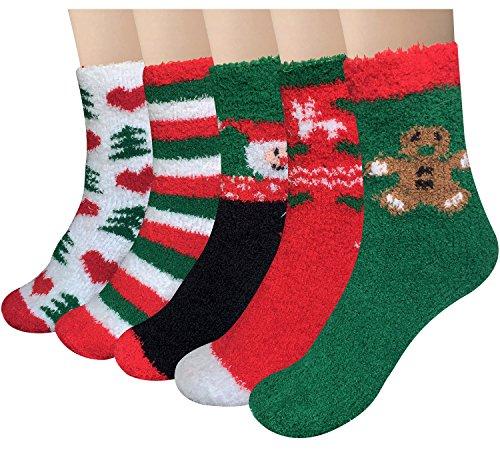 Loritta 5 Pairs Womens Fuzzy Christmas Socks Warm Soft Cozy Fluffy Slipper Socks Gifts