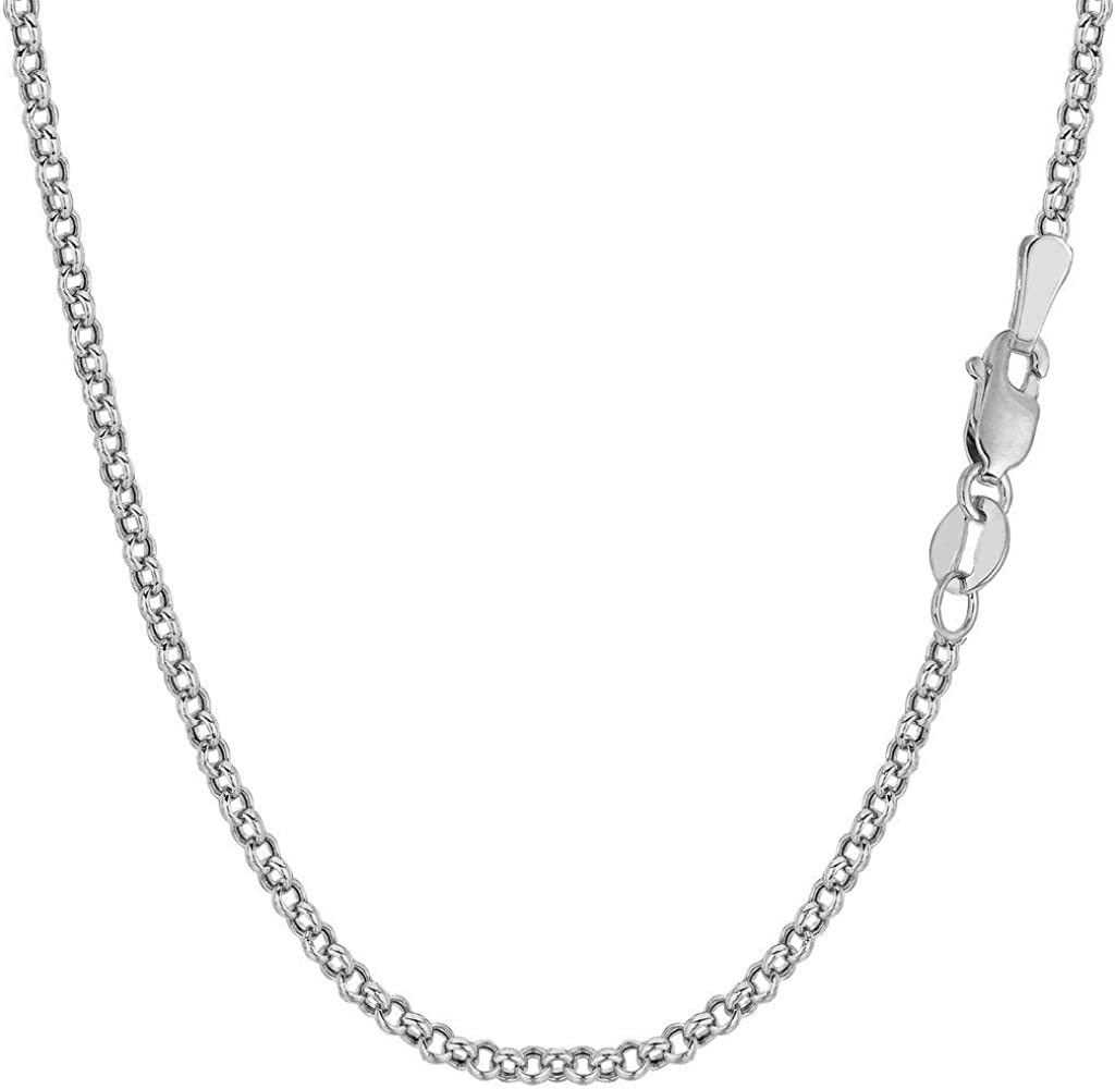 10k SOLID Yellow or White Gold 2.3mm Shiny Diamond Cut Rolo Chain Necklace Or Bracelet for Pendants and Charms with Lobster-Claw Clasp (10