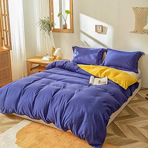 Plain Duvet Cover Single Double King Size Soft Reversible Microfibre Linen Solid Color Bedding Set Duvet Cover Set Cotton with Pillowcases,purple+yellow,135x200cm