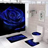 Hewego 70x70 Inch Royal Blue Rose Shower Curtain Sets with Rugs Floral Shower Curtains Sets Valentine Festival Bath Curtain and Bathroom Accessories Medium Size