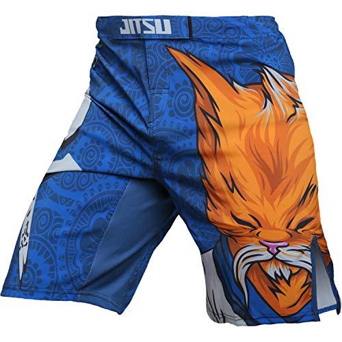 Jitsu Fight Shorts Men's Zen Cat MMA BJJ Grappling Fitness Crossfit Muay Thai No Gi Blue Yellow
