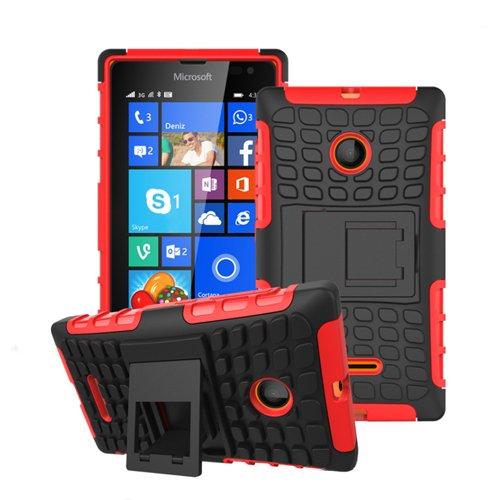 betterfon Microsoft Lumia 532 Rot Outdoor Hybrid Case Panzer Tasche Cover Silikon Handytasche Hülle SCHUTZ Schutzhülle Bumper +Gratis Bildschirmschutzfolie