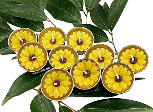 NAVA CHIANGMAI Flower Tealight Candles Scented Tea Lights Aromatherapy Relax Candles for Birthday Party Supplies and Wedding Favor Baby Shower Decorations Pack of 10 Pcs(Yellow Daisy Flower)