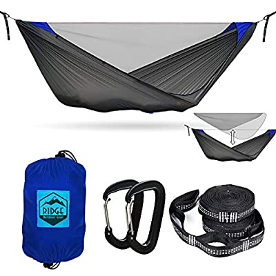 Ridge Outdoor Gear Camping Hammock with Mosquito Net - Pinnacle 360 11 ft - Ultralight Hammock Tent Bundle with Bug Netting, Straps, and Carabiners Fully Removable Net