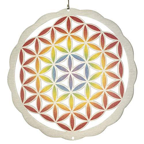 Mobile en Acier Inoxydable - Blume des Lebens Colour 200 - Dimensions : Ø20cm INCL. Système d'accrochage