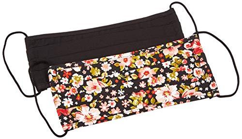 PIECES Damen AOP:2 Pack Red and Pink Flower+solid Black Mundschutz, Schwarz, ONE SIZE