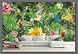 Blovsmile Fondos pintados a mano loro bosque Tropical plantas tropicales dibujos animados TV Fondo sala de estar hogar Decoración A-210X140cm(WxH)
