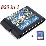 ゲームソフト,セガメガ ドライブ ジェネシス コンソール用 16ビット ゲームカード 820 in 1 Game Cartridge 8GB SDHCカード付き
