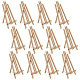 U.S. Art Supply 18' Large Tabletop Display Stand A-Frame Artist Easel (Pack of 12), Beechwood Tripod, Painting Party Easel, Kids Student Table School Desktop, Portable Canvas Photo Picture Sign Holder