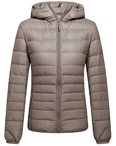 ZSHOW Women's Lightweight Packable Down Jacket Outdoor Hooded Thin Outerwear Coat(Khaki,Medium)