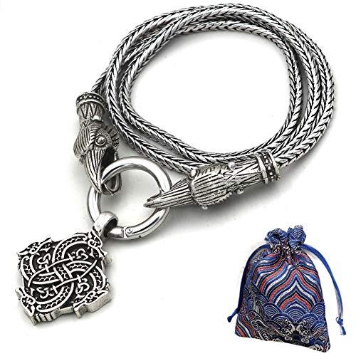 WLXW Collar de Viking, de Nordic Mito Odin Cuervo Céltico del Lobo Cabeza Amuleto Runa, Vikingo Nórdico Étnico Joyería de Los Hombres Y de Las Mujeres, Los 60CM