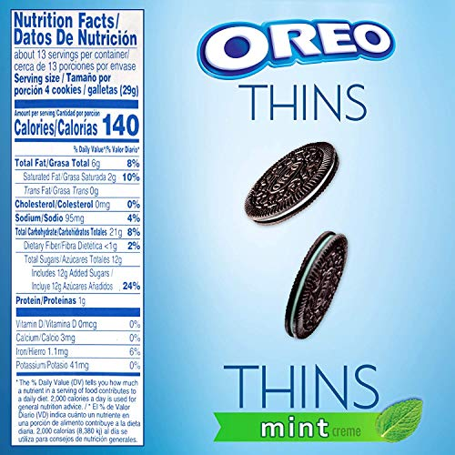 Oreo (ORMT9) Thins Flavored Creme and Thins Original Chocolate Sandwich Cookies Variety Pack, Oz Mint 39.3 Ounce
