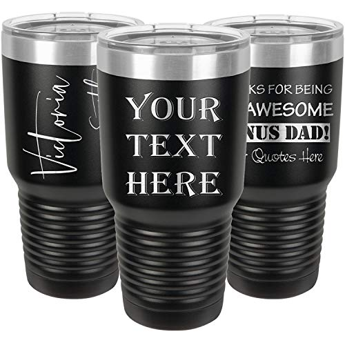 Personalized Tumblers 30oz with Lids and Optional Straws, Your Name or Text Engraved in USA Customized Cups, Stainless Steel Vacuum Insulated Coffee...