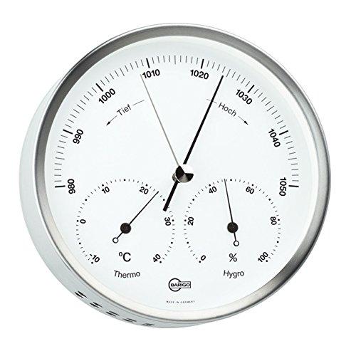 Barigo Wetterstation Baro-/Thermo-/Hygrometer Ø 132mm, Edelstahl, weiß