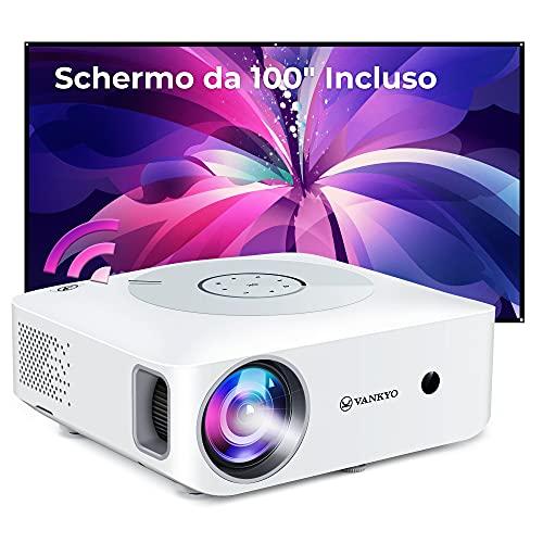 VANKYO Leisure 530W Proiettore WiFi, Videoproiettore 1080P Nativo Full HD Supporta 4K, 7500 Lux, 100  Schermo Incluso, Touch Pannello Retroilluminato, per TV Stick Chromecast iPhone Android PC PS4
