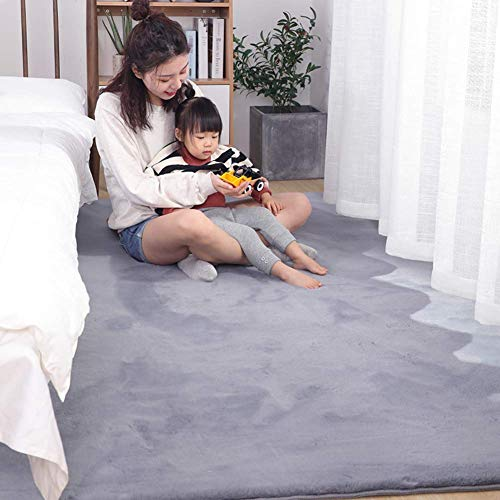 Ultraweiche Faux-Pelzbereich Teppich, dicke feste Farbe Kaninchen-Pelz-Teppich-Sofa-Cover-Bett-Teppich für Wohnzimmer-Schlafzimmer Kinder-Raum-hellbraun 180x220cm (71x98inch), Rauchgrau, 80x200cm (31x
