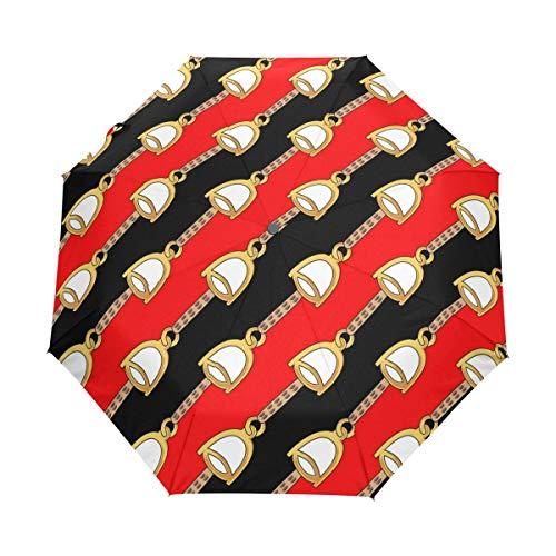 Kleiner Reiseschirm Winddicht Regen im Freien Sonne UV Auto Compact 3-Fach Regenschirmabdeckung - Goldene Glocke