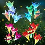 Solarleuchten Garten, KagoLing Solarlampen für Außen 4 Stück Lilie Blumen Solarleuchten garten außen mit 7 Farbe Wechselnde größeren Lily Blumen und breitere Solar-Panel für Hof Party Weihnachts