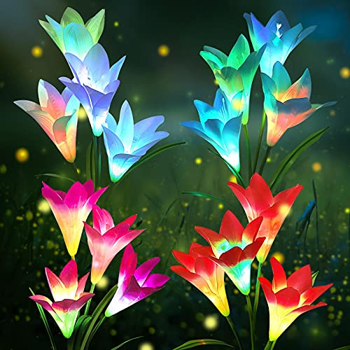 Lampade Solari da Giardino, KagoLing Lily Luci Solari Esterno 4 pezzi Luci da Esterno Cambiano Colore Fiori più Grandi e Pannelli Solar Lampada Solare per Terrazza,Giardino,Festa di Natale
