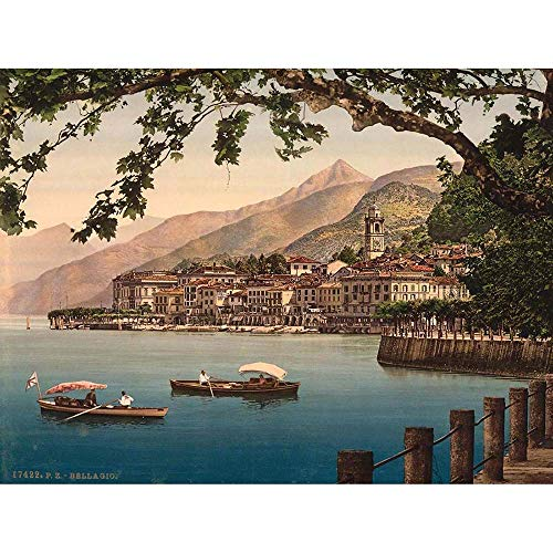 PHOTO BELLAGIO GENERAL LAKE COMO ITALY LANDSCAPE BOATS ART PRINT POSTER BB8957