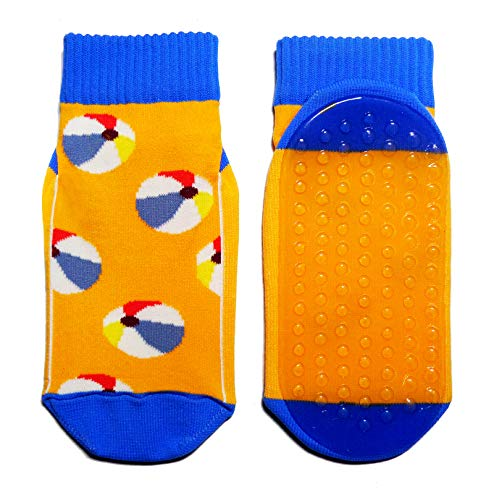 Weri Spezials Strandsocken für Baby und Kinder mit ABS Beschichtung, Aqua-Socken Madchen Jungen Schwimmschuhe mit Strandbälle, von Größe 19 bis 38, in 2 tollen Farben (19-22, Orange)