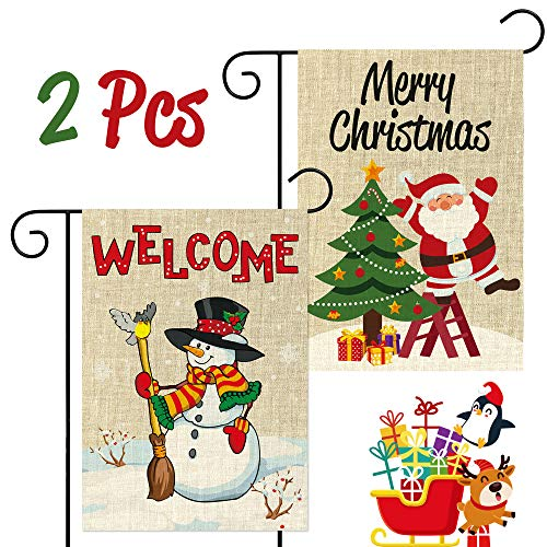 WATINC 2Pcs Welcome Garden Flag Merry Christmas Flags for Winter Holiday New Year House Outside Decorations Double Sided Burlap Santa Snowman Farmhouse Seasonal Flags for Outdoor Yard 12.4 x 18.2 Inch