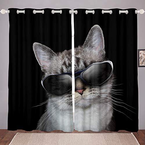Lindas cortinas de gato para mascotas, divertidas cortinas de ventana para dormitorio, sala de estar para niños y niñas 3D con temática de animales, gafas para ventanas de animales felinos, 46 x 72