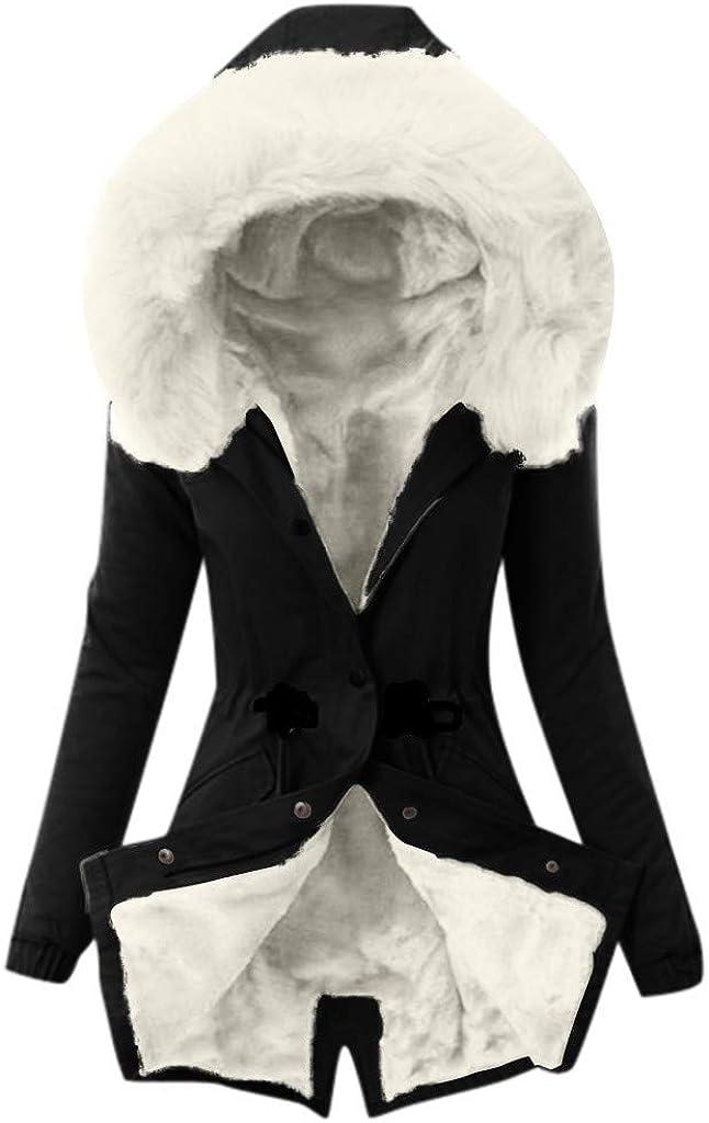 Womens Winter Coats, Women's Outdoor Parkas Mid Length Jacket Coat with Faux Fur Hood Jacket Hooded Outwear