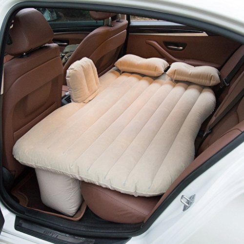 MeterMall Auto For Car Air Mattress Travel Bed Inflatable Mattress Inflatable Air Bed Beige