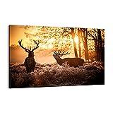 Cuadro sobre lienzo - Impresión de Imagen - Deer brezo animal - Imagen Impresión - Cuadros Decoracion - Impresión en lienzo - Cuadros Modernos - Lienzo Decorativo - Impresión Pinturas - (AB) 3043