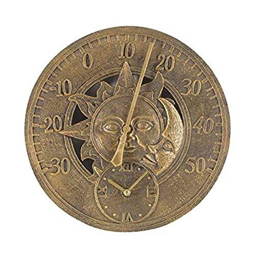 YiGanQiang Außenbereich Wanduhr Dekorativ Zaun Ornament Thermometer Luftdruck Montierbar Wetterfest Wetter Station Hygrometer Passend (Color : Brass)