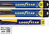 Windshield Wiper Blade Set/Kit/Bundle for 2014-2019 Nissan Rogue - Driver, Passenger Blade & Rear Blade & Reminder Sticker (Hybrid with Goodyear Rear)