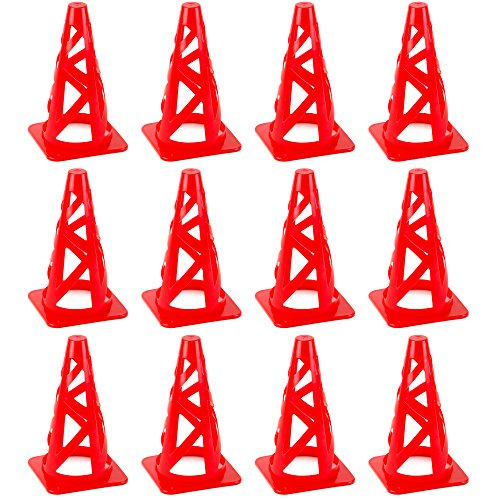 Crown Sporting Goods Red 9' Collapsible High Hat Sport Cone Markers for Indoor/Outdoor Agility Training (12-Pack)