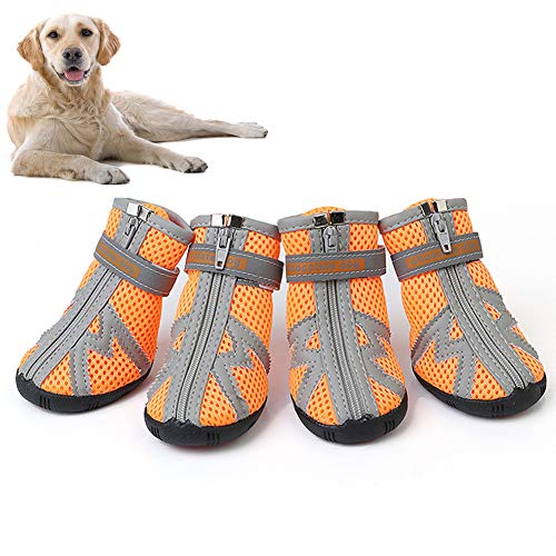 Naivedream All Weather Dog Hiking Shoes, Dog Outdoor Shoes with Anti-Slip Sole, Reflective Pet Running Shoes,Paw Protectors with Adjustable Straps, Zipper Closure and Easy to Wear, Bright Colors