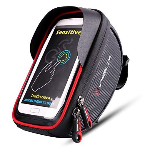 XinPengtai Bolsa de marco frontal para teléfono de bicicleta, impermeable, bolsa de teléfono con visera de sol, funda de gran capacidad para teléfono