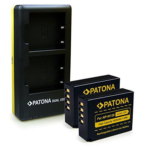 PATONA Chargeur Double + 2X Batterie NP-W126 Compatible avec Fuji FinePix X-Pro 1 HS-30EXR HS-33EXR