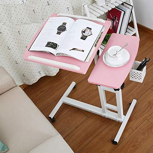 Laptop Schreibtische kommen in 5-15 Tagen!Faltbare Computer-Tabelle Einstellbare und mobilen Laptop-Schreibtisch-Nachttisch Lifted Stehpult mit Tastatur (Color : Pink)