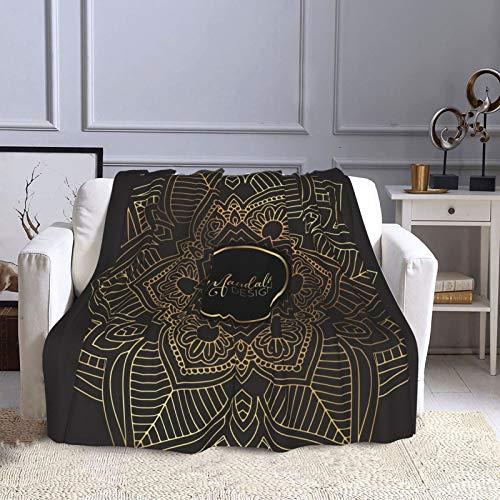 KCOUU Manta de forro polar de 50 × 60 pulgadas, color dorado y negro, acogedora manta decorativa para sofá, cama, sofá, viajes, hogar, uso en la oficina en todas las estaciones