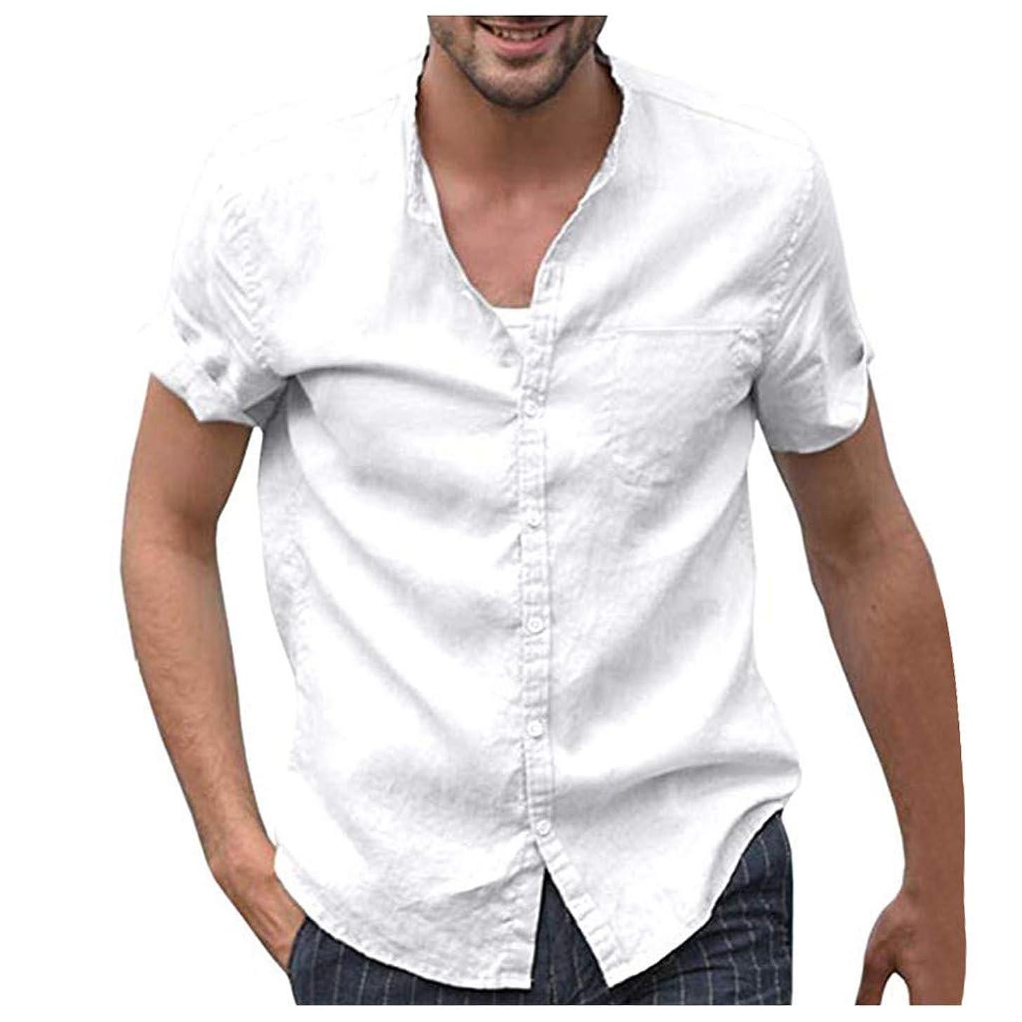 T Shirt For Men Nuewofally Loose Plus Size Short Sleeve T-Shirt Baggy Cotton Linen Henley Shirts Button Retro Tee Tops (White,3XL)