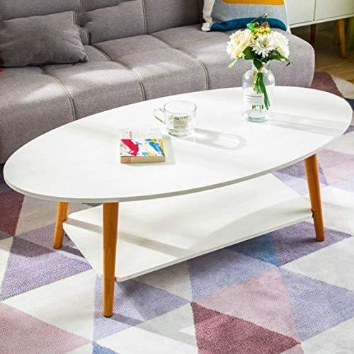 XULEISFDS Haus und Garten/Möbel FG Cafe Tische Cafe Möbel Massivholz Oval Couchtisch Sofa Beistelltisch Montage Schreibtisch (Oval Weiß 120x60x42cm) (Farbe : Warm White 120x60x42cm)