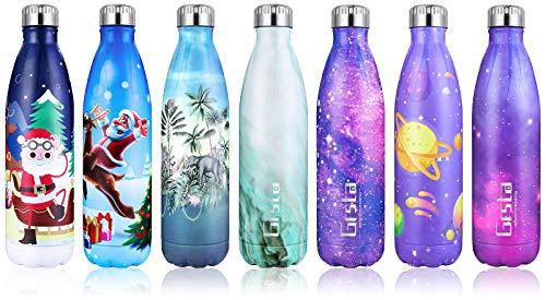Grsta Trinkflasche Edelstahl, Thermosflasche BPA Frei Vakuum Isoliert Edelstahl Trinkflasche 750ml Thermoskanne Doppelwandige Isolierflasche Auslaufsicher Kinder Wasserflaschen für Küche, Zuhause