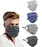 Beard Men Face Mask Cloth Adult Reusable Designer, Stripe Lanyard Strap Large Print Big Oversized Size, Breathable Washable Fashion Fabric Madks Mouth, Cubre BocasTapa ParaMascarillas Tela Diseo