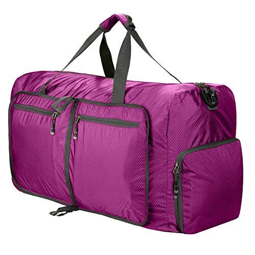 Reisetasche Groß Leichte Faltbare 85L Reisegepäck Duffle Taschen Weekender Übernachtung Taschen Reisetasche Sporttasche für Herren Damen Sport Reisen Gym Urlaub (lila)