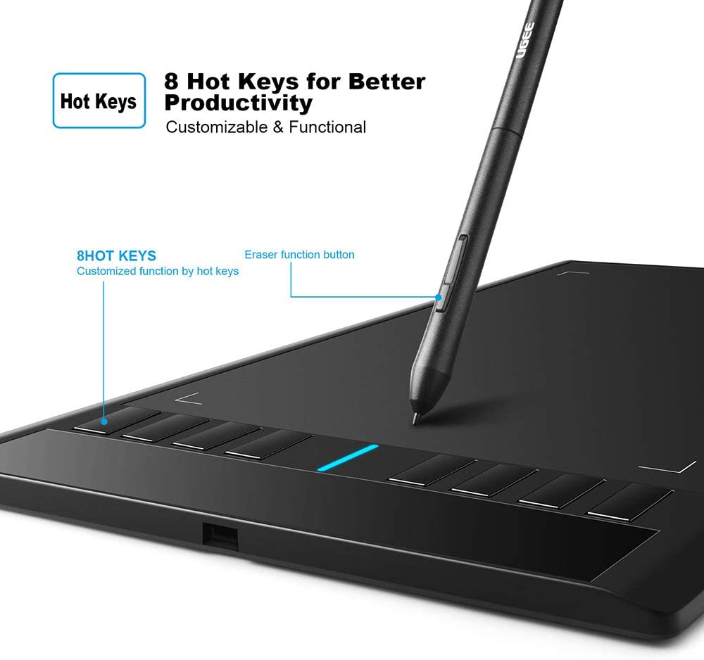 Graphics Tablet M708 UGEE 10 x 6 inch Large Active Area Drawing Tablet with 8 Hot Keys, 2048 Levels of Pressure Sensitivity Pen For Sale In Trinidad