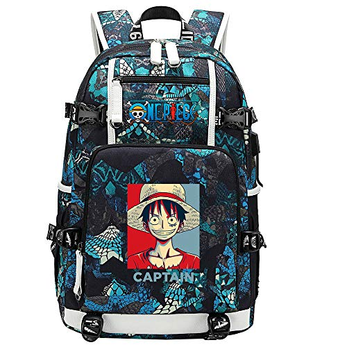 ZZGOO-LL One Piece Monkey·D·Luffy/Roronoa Zoro Mochila con para Mujer, Mochila de Viaje Suave, Mochila para Escuela, Notebook, Mochilas para niñas con USB-B