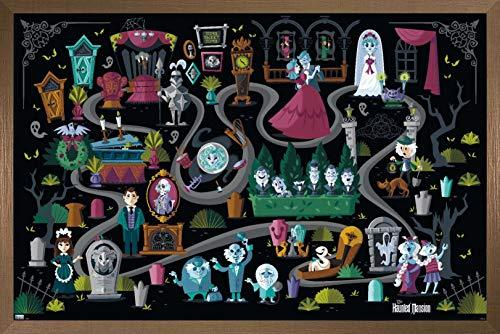 Trends International Disney Haunted Mansion - Map Wall Poster, 14.725' x 22.375', Bronze Framed Version