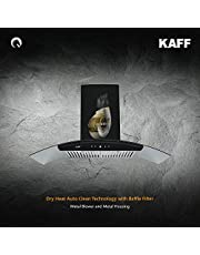 kaff LIZ DHC 90 | Dry Heat Auto Clean | Heavy duty SS baffle filter | Black curved tempered glass | Touch control with digital display